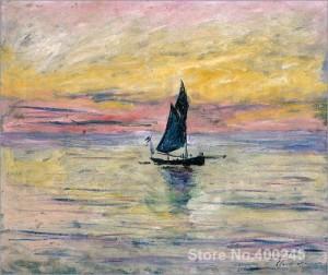 La-Barca-A-Vela-Da-Sera-Effetto-olio-su-tela-dipinto-A-Mano-della-pittura-di